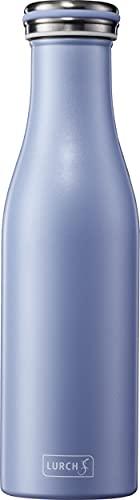 Lurch 240940 Isolierflasche / Thermoflasche für heisse und kalte Getränke aus doppelwandigem Edelstahl 0,5l, pearl blue