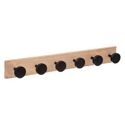 Perchero de madera con 6 ganchos redondos, diseño de puntos, perchero de pared, perchero, perchero