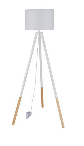 Sit Möbel This & That staande lamp frame Hevea en eiken, kap textiel L = 65 x B = 65 x H = 154 cm frame wit en natuur, kap wit