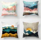 AYUNK Pack of 4 Watercolour Mountains Decorative Square Cushion Covers Stylish Pillow Cases for Sofa Living Room Bedroom with Invisible Zipper 45cm x 45cm