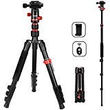 Camera Tripod Lightweight Travel Tripod 2 in 1 Portable Camera Tripod Stand with 360 Degree Ball Head, Remote Bluetooth and Phone Clip for Cameras, Smartphone