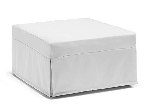 Talamo Italia Pouf Letto Flash, Trasformabile in letto, Made in Italy, cm 80 x 80 h45, Bianco