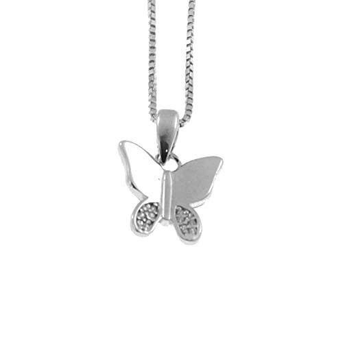 Collar con la Mariposa en Plata de Ley 925 Rhinestone Blanco Chapado de rodio no oscurecer catenina por 42 cm - cln0358