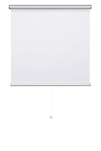 KINLO Persiana Enrollable 90x180cm Automática Sin Cable Sin Perforación Estor Opaco para Ventana Habitación/Baño/Cocina Cortina Protector Solar UV Proteger Privacidad con Revestimiento Plateado Blanco