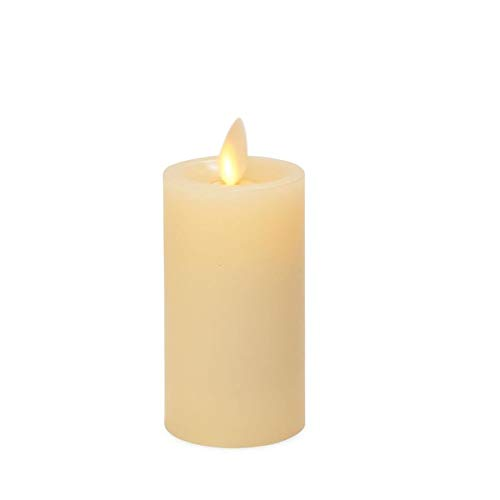 Luminara Flameless Slim Pillar Candle Small (Ivory, Unscented, 4.25 Inches Tall), Centerpiece, Recessed Edge, Flickering, Smooth Finish, Real Wax, LED Battery Operated