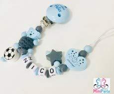 Schnullerkette mit Namen - Junge - viele Modelle - viele Farben - personalisiert - Häkelperle - Tiere - Motive - Prinz (blau, grau, Fussball, Prinz, Herz, Schutzengel, C043)