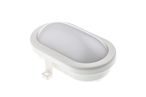 HUBER LED applique et plafonnier pur intérieure et extérieure 10W 700lm I IP44 I applique murale, led exterieur, plafonnier exterieur, ovale, blanc
