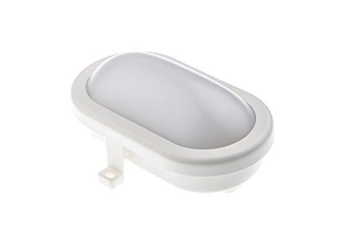 HUBER LED Ovalarmatur, Wandlampe und Deckenleuchte weiß, quadratisch, 10 W, 700 Lumen, sehr hell 18 LED´s, tageslichtweiß, IP44
