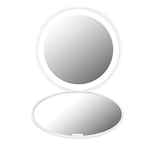 Espejo de Aumento 10X Espejo de 12 LED, Espejo de 10X, Principiantes de Vestir de Alta Potencia para los Amantes del Maquillaje(White)