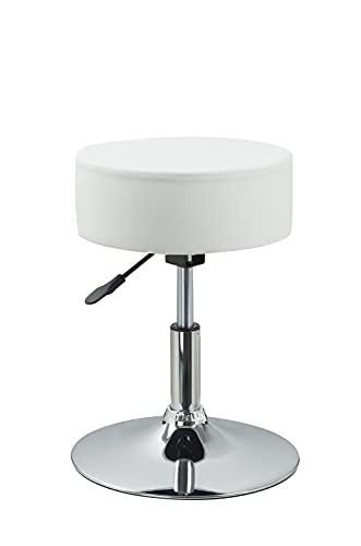 Drehhocker Sitzhocker Hocker RUND höhenverstellbar drehbar aus Kunstleder Farbauswahl Duhome 428S, Farbe:Weiss, Material:Kunstleder