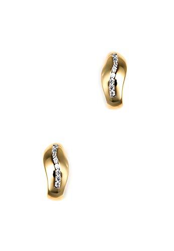Heideman Creolen Damen Ohrcreole Welle aus Edelstahl gold farbend matt Ohrstecker hängend für Frauen mit Zirkonia weiss im Brillant Schliff 1,5mm