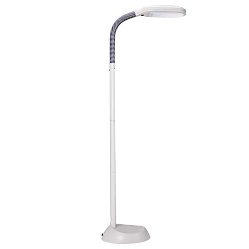 14W LED Floor Lamps with Reading Light Craft Lights Addlon Dimmable Adjustable Head Natural Daylight Standing Pole Light with Gooseneck for Living Room Sewing Bedroom Office ( White )
