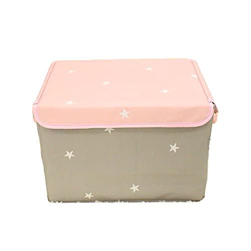 Parshall Caja de almacenamiento de juguetes Caja de almacenamiento de juguetes Cubo de almacenamiento de tela Oxford Organizador impermeable para juguetes, libro etc-estrellas rosas