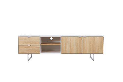 TENZO Board TV-Bank Cello Designer Lowboard 2 Türen + 2 Schubladen, Eichenmelamin-Spanplatte und lackiertes MDF, Weiß/Eiche Mel, 58 x 194 x 43 cm (HxWxD)