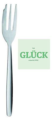 """24 forchette da dolce in acciaio inox, con adesivo in lingua tedesca """"Viel Glück""""(buona fortuna)."""
