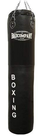 Bad Company Boxsack inkl. Heavy Duty Vierpunkt-Stahlkette I Leder Punching Bag, ungefüllt I 180 x 35 cm - Schwarz