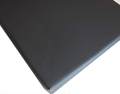 IDEALES hochwertiges Sitzkissen Stuhlkissen Bankkissen für Haus und Garten aus Kunstleder (schwarz glatt)