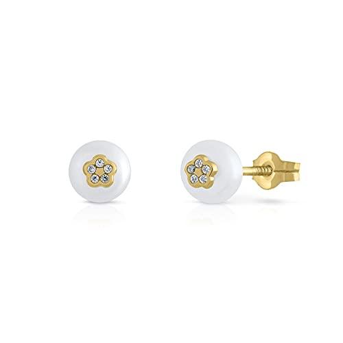 Pendientes Oro de Ley Certificado. Niña/Mujer. Perla Natural Cultivada con flor. Cierre de presión. Medida 5.5 mm. (1-8963)