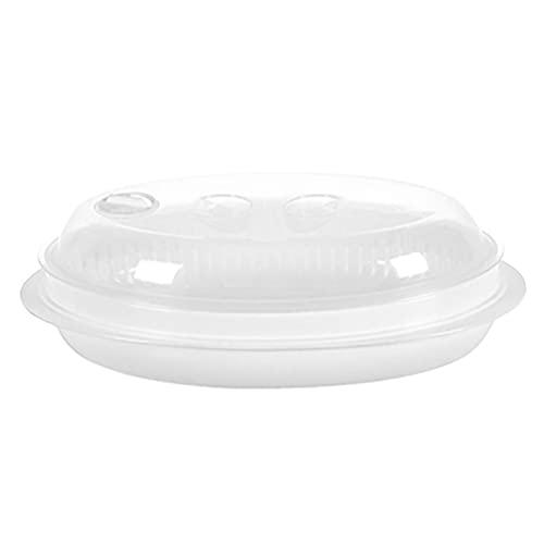 Cabilock Recipiente para vaporizador, para microondas, recipiente para cocción, pescado, vaporizador con tapa para comida prep, microondas, utensilio de cocina, apto para lavavajillas