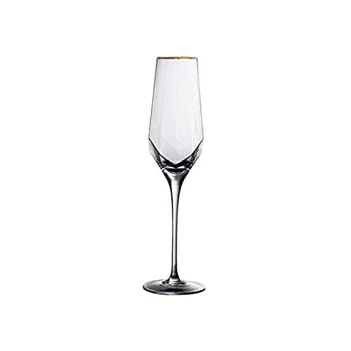 Takagawa HHH Copa de Vino Creativa Diamante en Forma de Martillado Rimmed Nordic Crystal Goblet Rimmed Champagne Glass Diamond Glass HHH (Color : A2)
