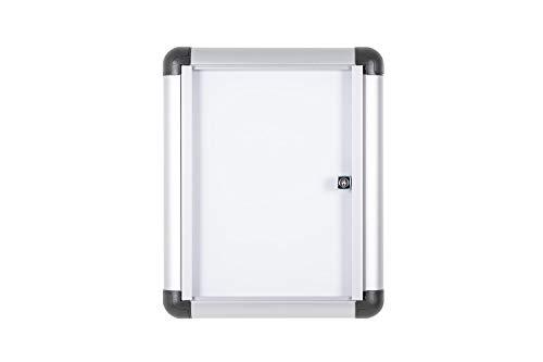 Bi-Office Boletín Enclore Extra, Superficie magnética en acero lacado, Tablón de anuncios con puerta con bisagras para interiores en aluminio, 306 x 376 mm - 1xA4