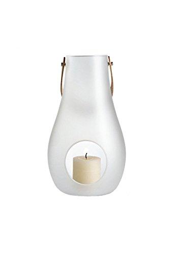 DWL Lantern with leather handl . white. H 16 cm
