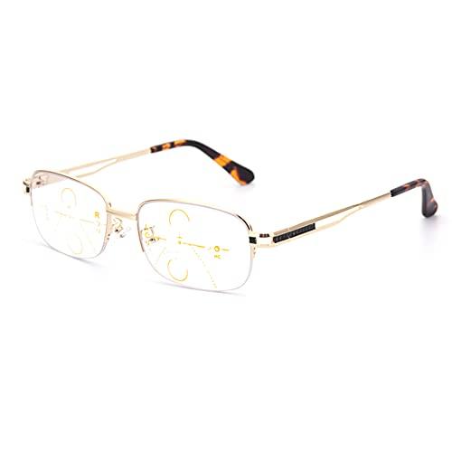 HQMGLASSES Gafas de Lectura de luz Anti-Azul multifocal de los Hombres, Lector de Marco de Negocio de Metal/antifatiga dioptría +1.0 a +3.0,Oro,+1.25