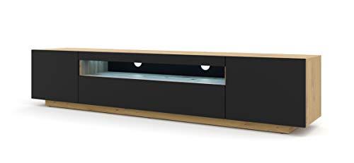 Mueble de TV Lowboard 200 cm TV mesa cómoda mesa mesa de TV cómoda Hi-Fi mesa roble Artisan negro frontal independiente armario (Artisan con iluminación azul)