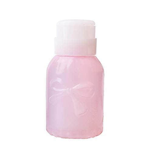 Homyl 220ml Bouteille Pompe Liquide à Dissolvant Nail Art Ongle Plastique - Rond rose