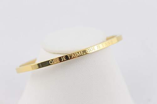 Lolo & Yaya - Pulsera de acero con texto en inglés 'Que Je t'aime, Que Je t'aime', color dorado