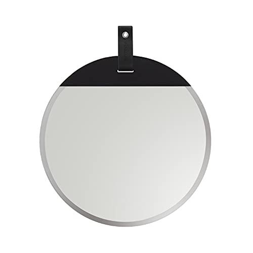 Cloudnola Espejo Reflect – Espejo de pared redondo – 40 cm – biselado y sin marco – Parte trasera de madera – Suspensión de cuero – Negro