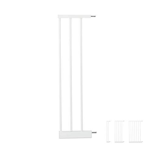 Relaxdays Schutzgitter Verlängerung L, clevere Türgitter Erweiterung, steckbarer Gitter Aufsatz Treppe, 20cm breit, weiß