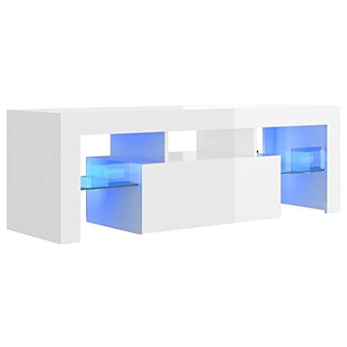 vidaXL TV Schrank mit LED-Leuchten Lowboard Fernsehschrank Fernsehtisch Sideboard HiFi-Schrank TV Möbel Tisch Board Hochglanz-Weiß 120x35x40cm