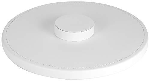StilGut Standfuß kompatibel mit Apple HomePod aus Kunstleder, Unterlage für Lautsprecher, Weiß