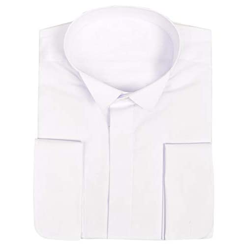 Ex-Branded Mens Shirt Formal Dress Wing Bwing Collar Double Cuff Button Down Long Sleeve Top Event Party Wedding Classic Wear