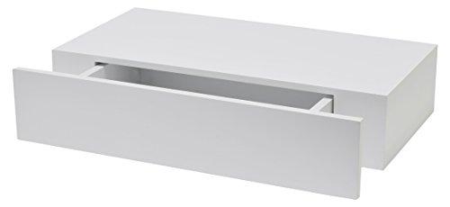 Duraline Modernes Sideboard | Regalbrett mit Schublade | 10 x 48 x 25 cm | Weiß glänzend