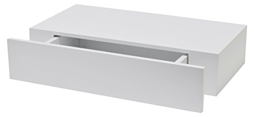 Duraline Modern dressoir, plank met lade, 10 x 48 x 25 cm, wit glanzend