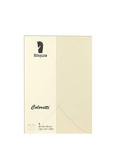 Rössler 220720512 Coloretti Briefumschläge, 80 g/m², B6, 5 Stück, creme