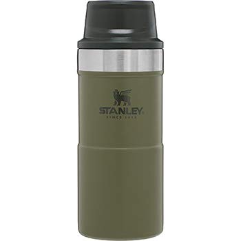 Stanley The Legendary Classic Vacuum Trigger-Action Travel Mug .35L Olive Drab 18/8 Stainless Steel Double-Wall Vacuum Insulation Water Bottle Leakproof Dishwasher Safe Naturally Bpa-Free