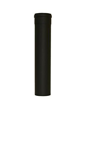 Pelletrohr Ofenrohr Pellet Rauchrohr Kaminrohr Ø 100mm grau schwarz (Länge 500 mm, schwarz)