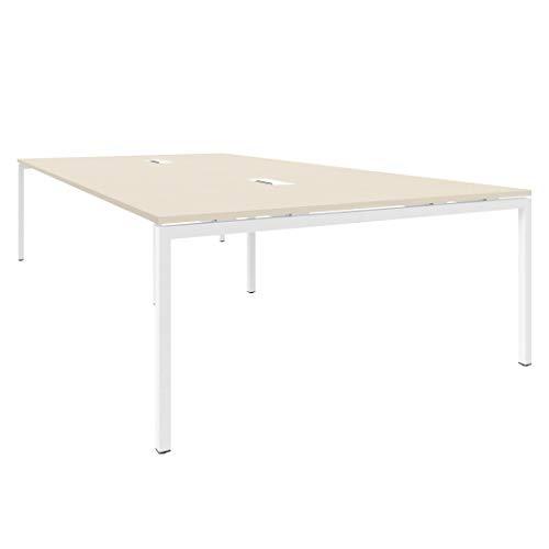 Weber Büroleben GmbH NOVA Konferenztisch 320x164cm Ahorn mit ELEKTRIFIZIERUNG Besprechungstisch Tisch, Gestellfarbe:Weiß