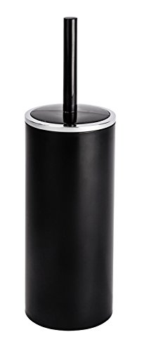 WENKO 22557100 WC-Garnitur Inca - geschlossener WC-Bürstenhalter, 10,5 x 34 x 10,5 cm, schwarz