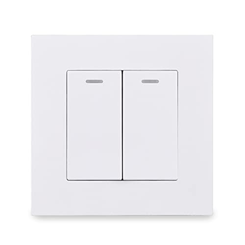 HLY-CASE PC Panel 2 GAND 1 Forma de Encendido/Apagado Interruptor de luz Muro Rocker Switch AC 12-250V 16A Diseño Elegante (Color : White)