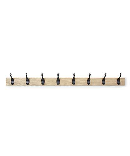 AmazonBasics Perchero de pared, 8 ganchos modernos, natural