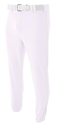 A4 N6178-WHT Pro-Style Elastic Bottom Baseball Pants, Medium, White