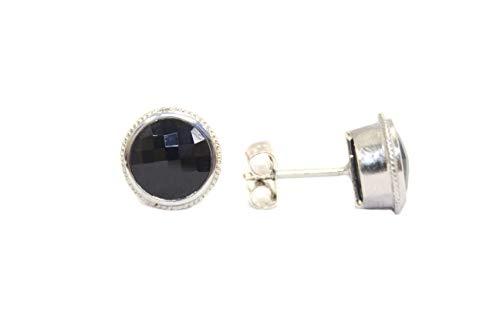 PH - Pendientes de tuerca para mujer, plata de ley 925, ónix negro, piedra preciosa P 105