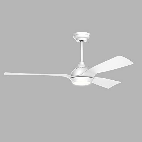 reiga 132CM Ventilatore da soffitto con motore CC con luce e telecomando, 3 lame bianche per interni / esterni, 6 velocità, 3 interruttori di temperatura colore