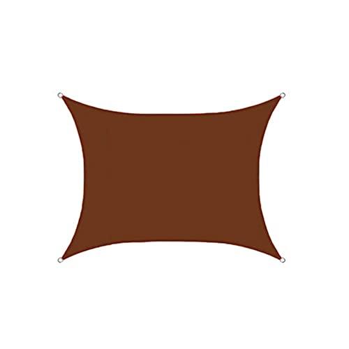 Toldo de vela rectangular poliéster impermeable toldo de vela toldo de bloque UV para patio al aire libre jardín patio trasero marrón 5 x 7 m