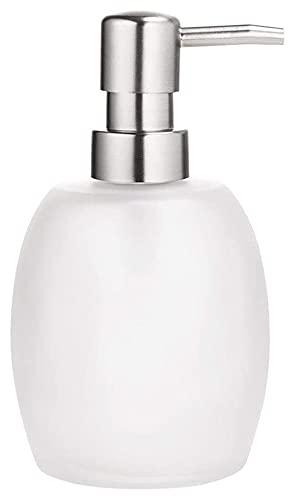 Botella de dispensador de jabón con lotion de bombeo Botella dispensadora de jabón 14.2 Oz Loción de vidrio Dispensador de jabón oval dispensador de jabón ovalado con bomba de metal (luxe inoxidable)