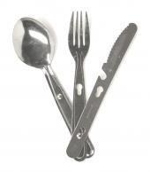 3tlg. Essbesteck Campingbesteck Feldbesteck Messer Gabel Löffel aus rostfreiem Stahl